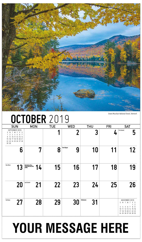 2019 Business Advertising Calendar - Green Mountain National Forest, Vermont - October