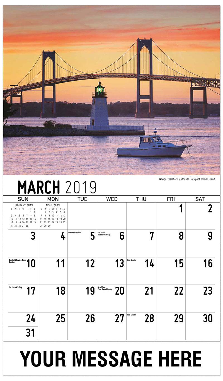 2019 Promotional Calendar - Newport Harbor Lighthouse, Newport, Rhode Island - March