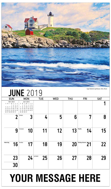 2019 Promotional Calendar - Cape Neddick Lighthouse, York, Maine - June