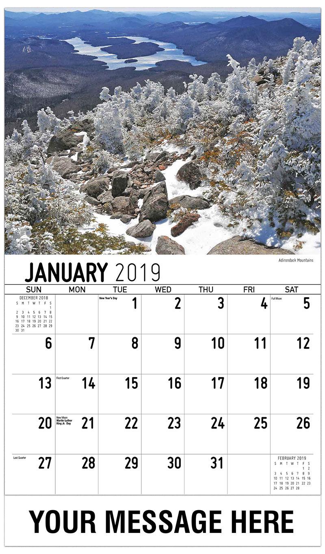 2019 Advertising Calendar - Adirondacks Mountains - January