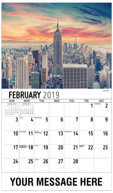 2019 Advertising Calendar - Manhattan - February