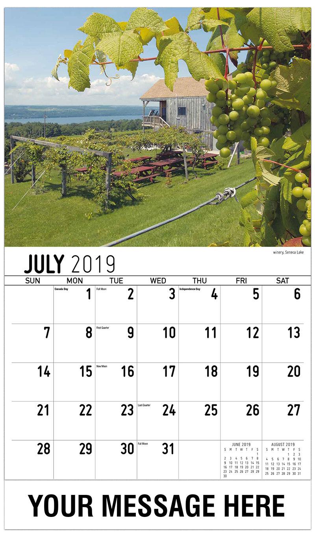 2019 Business Advertising Calendar - Winery, Seneca Lake - July