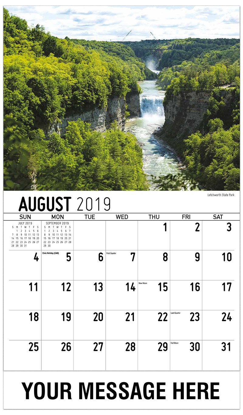 2019 Business Advertising Calendar - Letchworth Sate Park - August