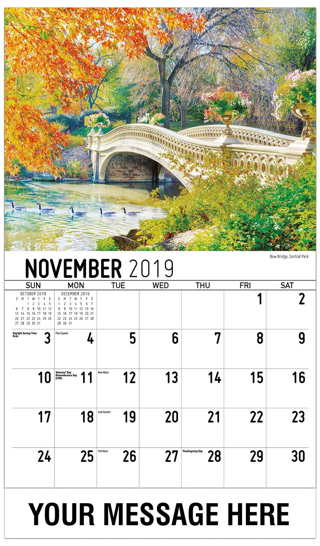 2019 Promo Calendar - Bow Bridge, Central Park - November
