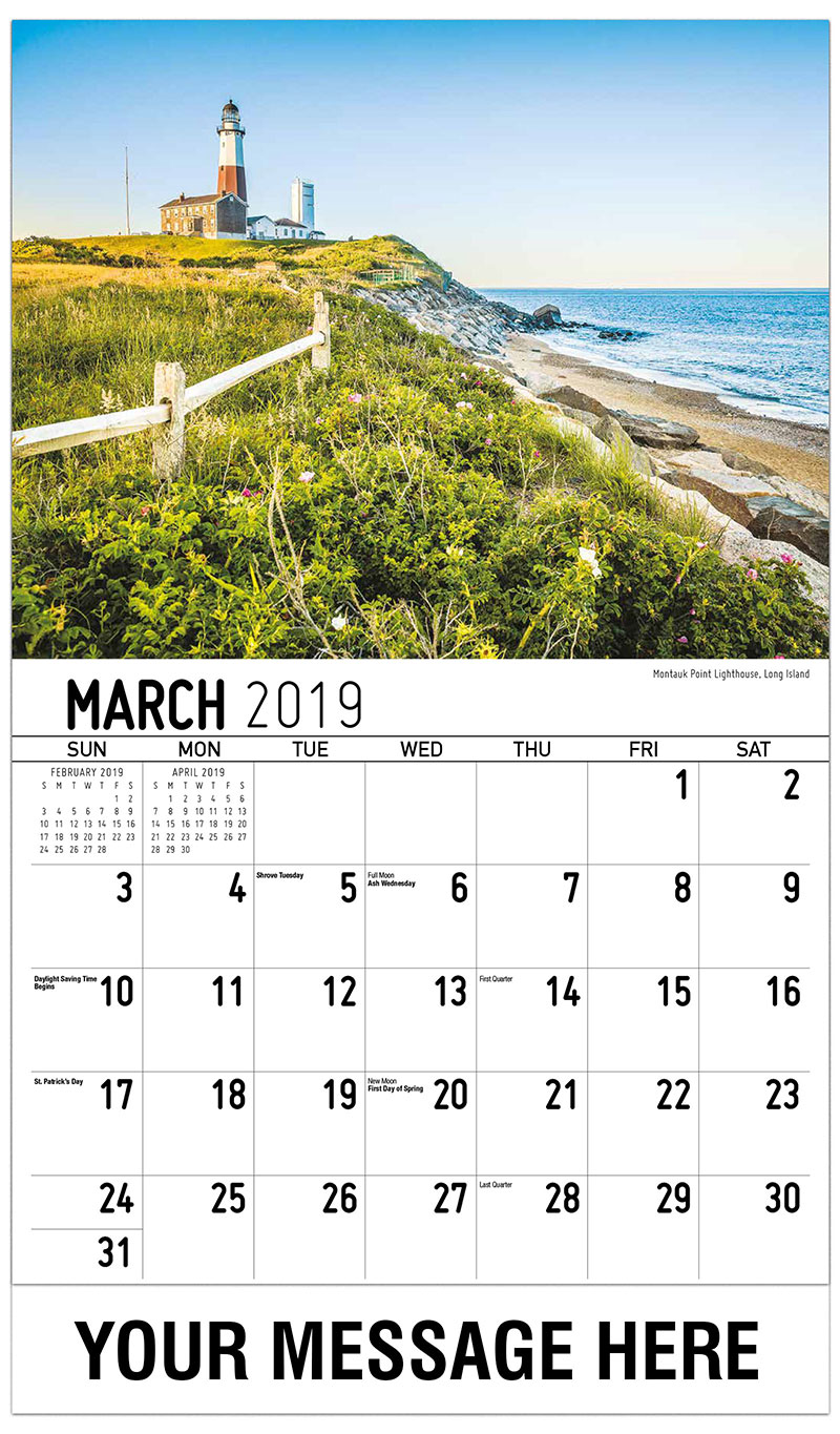 2019 Promotional Calendar - Montauk Point Lighthouse, Long Island - March
