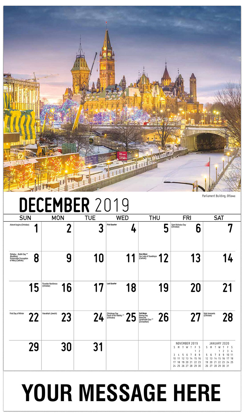 2019 Advertising Calendar - Parliament Building , Ottawa - December_2019