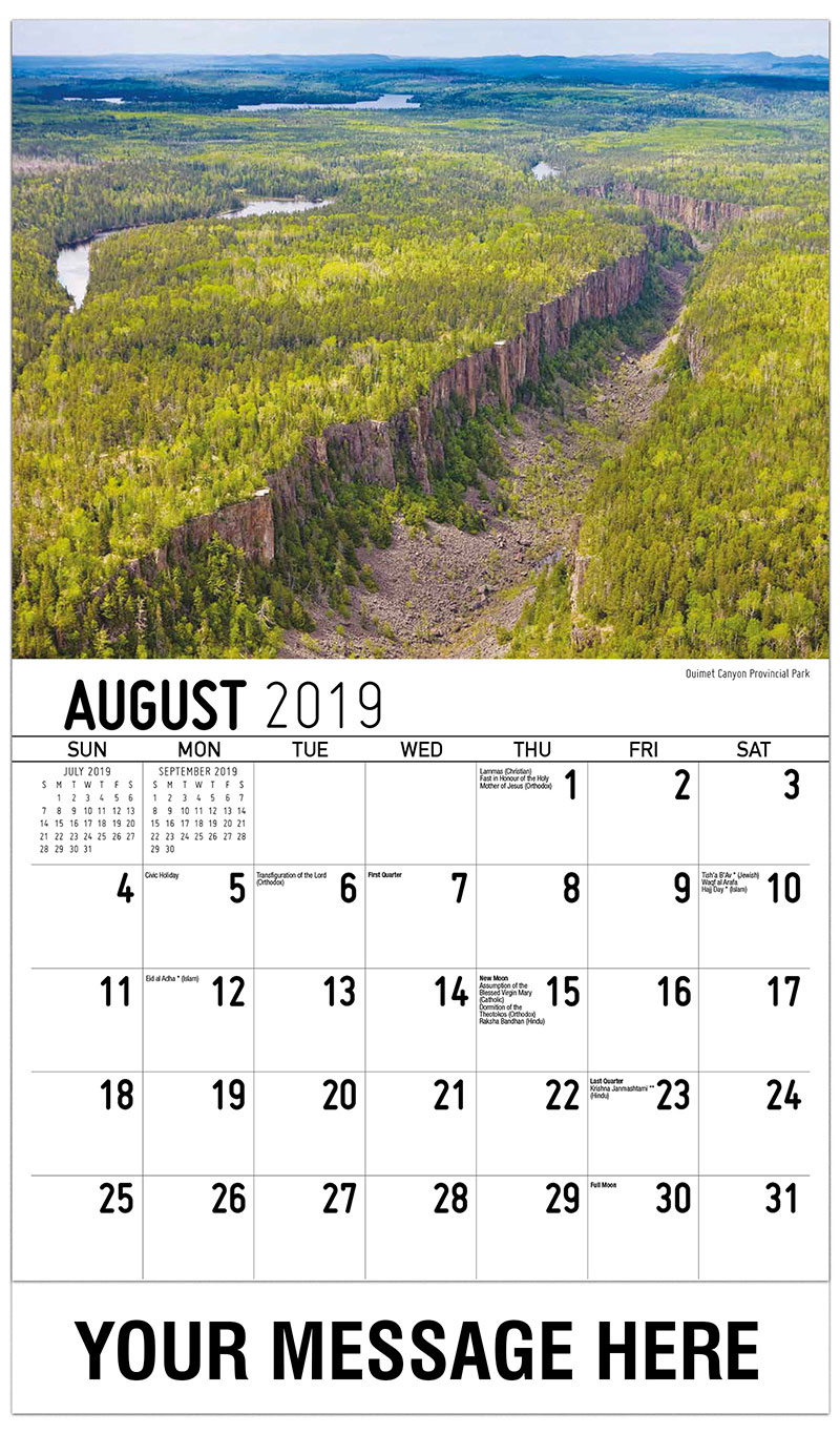 2019 Business Advertising Calendar - Ouimet Canyon Provincial Park - August