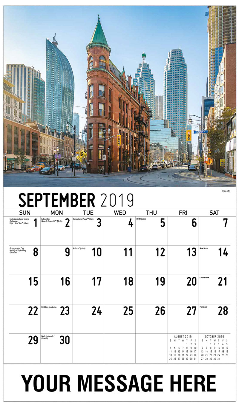 2019 Business Advertising Calendar - Toronto - September