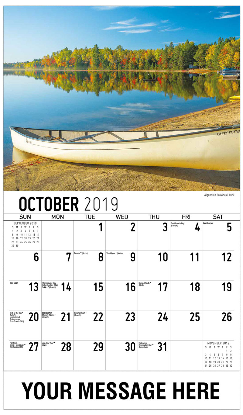 2019 Business Advertising Calendar - Algonquin Provincial Park - October