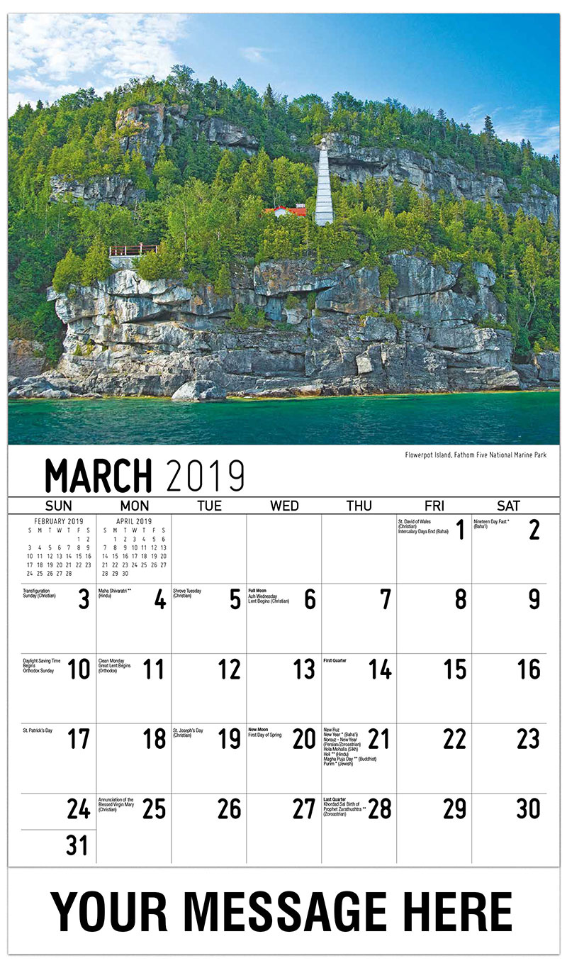 2019 Promo Calendar - Flowerpot Island, Fathom Five National Marine Park - March