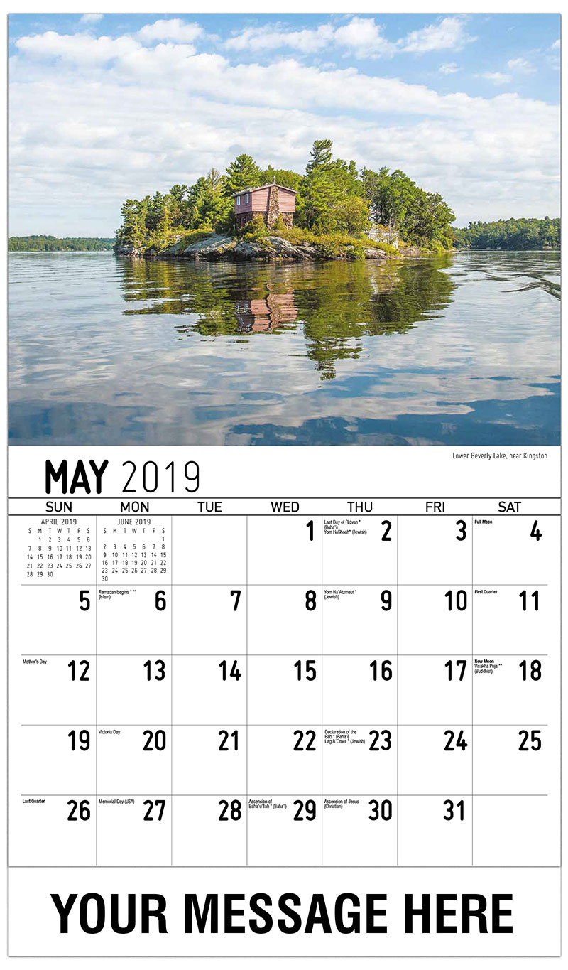 2019 Promo Calendar - Lower Beverly Lake, Near Kingston - May