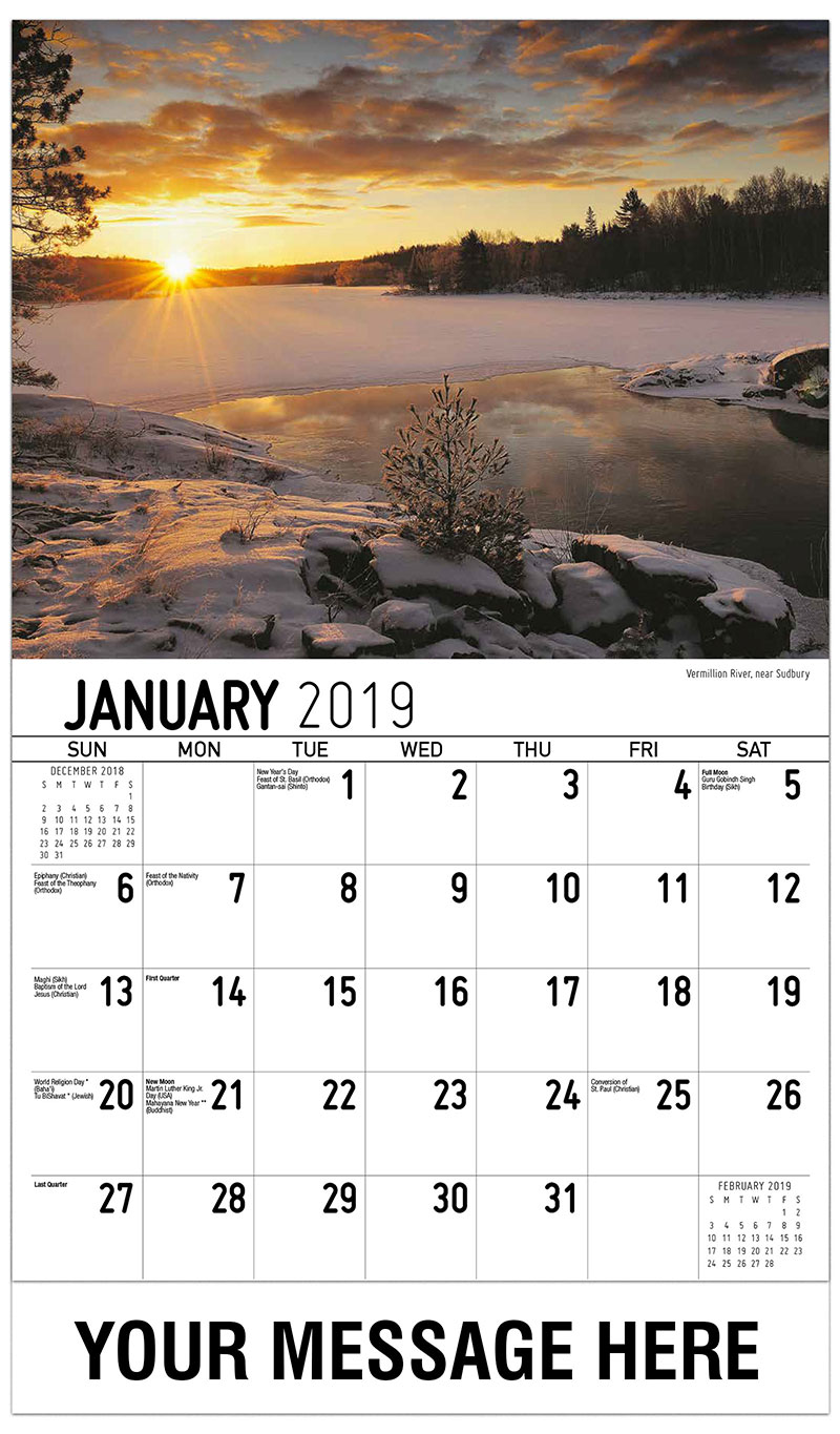 2019 Promotional Calendar - Vermillion River, Near Sudbury - January