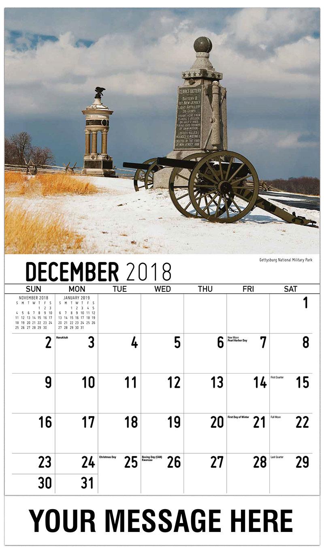 2019 Advertising Calendar - Gettysburg National Military Park - December_2018