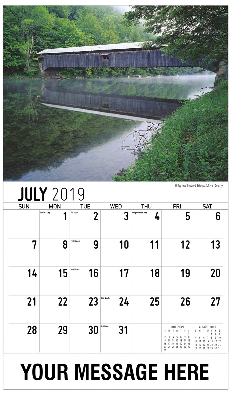 2019 Business Advertising Calendar - Hillsgrove Covered Bridge, Sullivan County - July