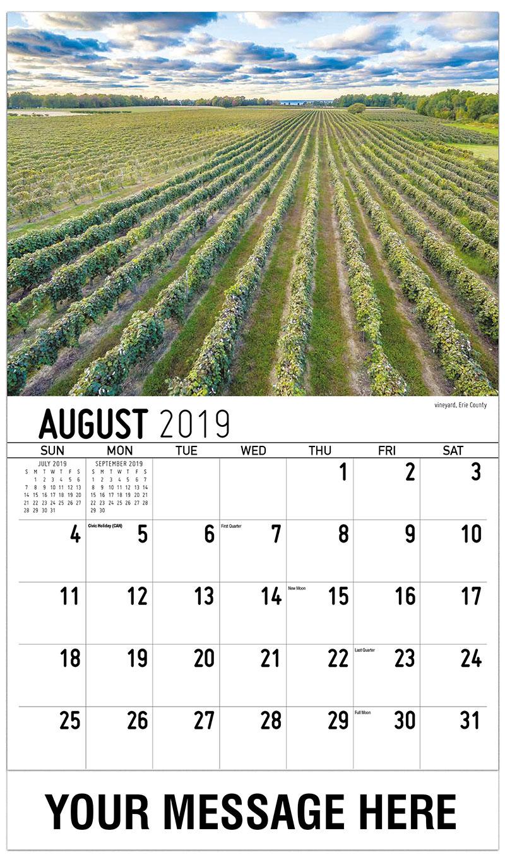 2019 Business Advertising Calendar - Vineyard, Erie County - August
