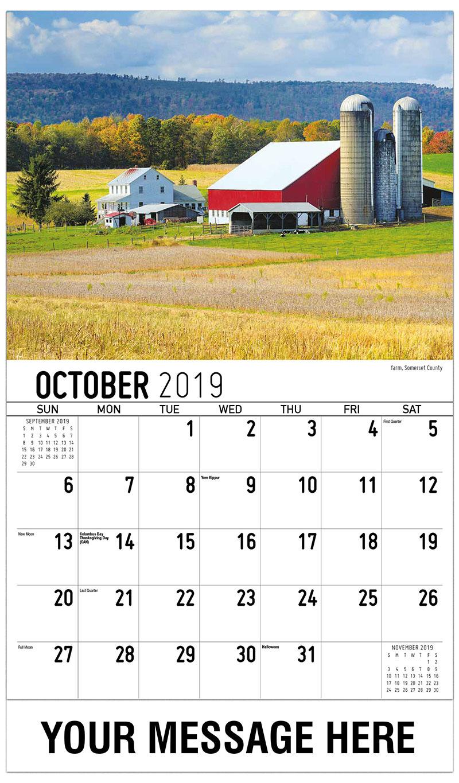 2019 Promo Calendar - Farm, Somerset County - October