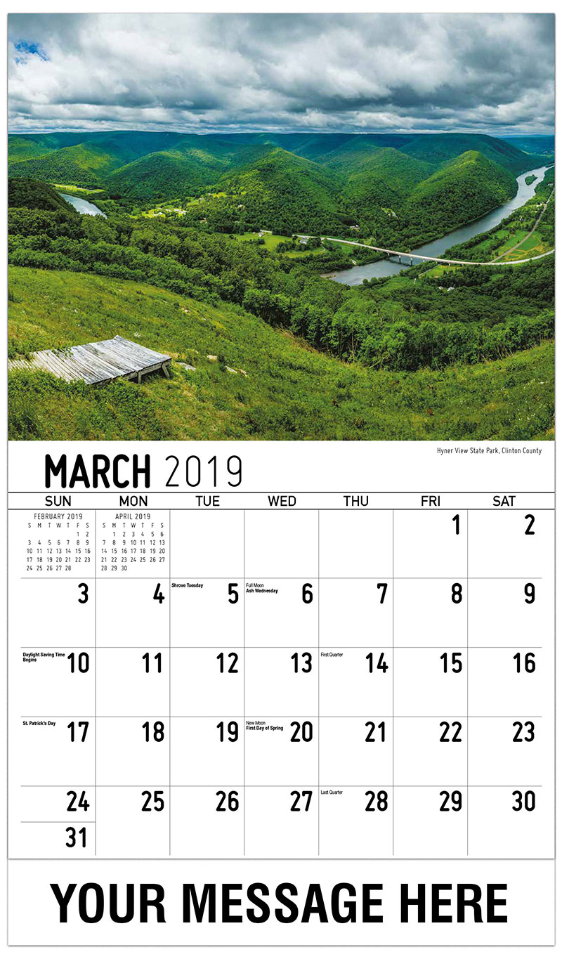 2019 Promotional Calendar - Hyner View State Park, Clinton County - March