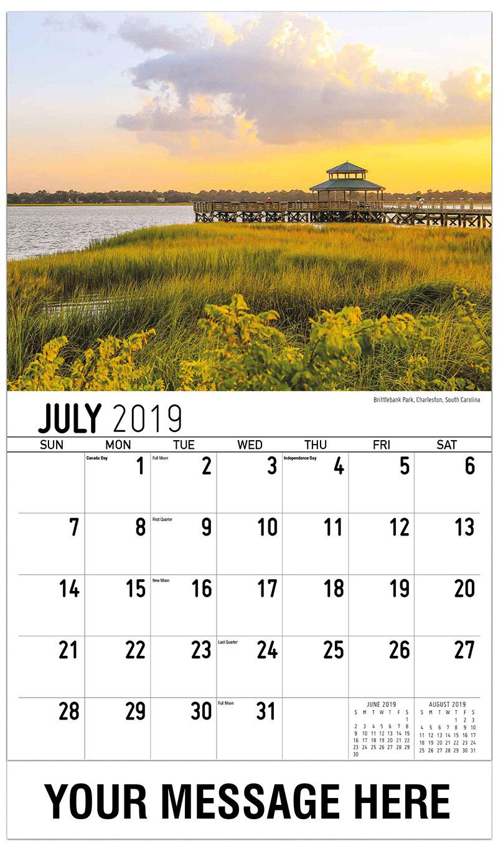 2019 Business Advertising Calendar - Brittlebank Park, Charleston, South Carolina - July