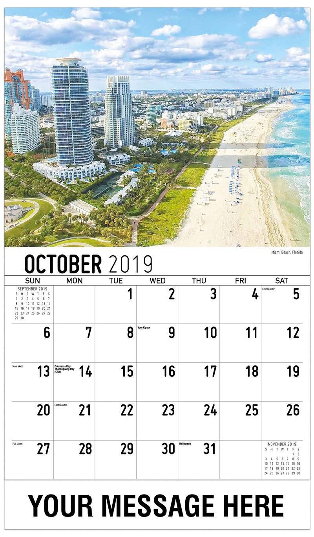2019 Business Advertising Calendar - Miami Beach, Florida - October