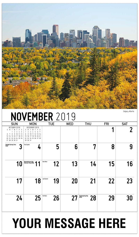 2019 Advertising Calendar - Calgary, Alberta - November