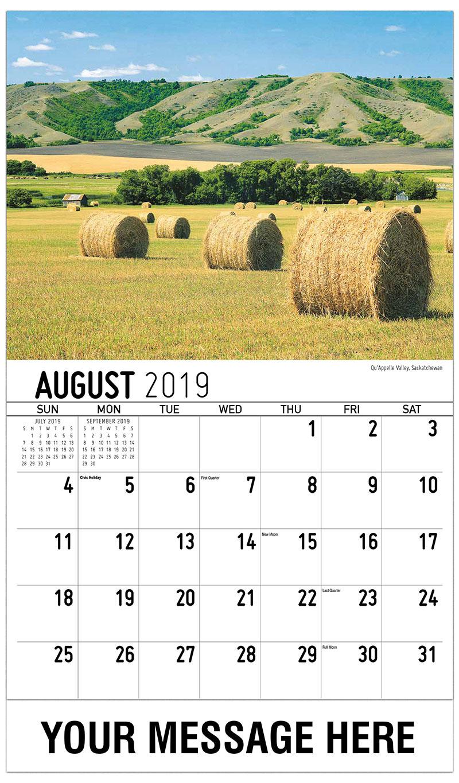 2019 Business Advertising Calendar - Qu'Appelle Valley, Saskatchewan - August