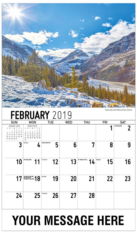 2019 Promo Calendar - Peyto Lake, Banff National Park, Alberta - February