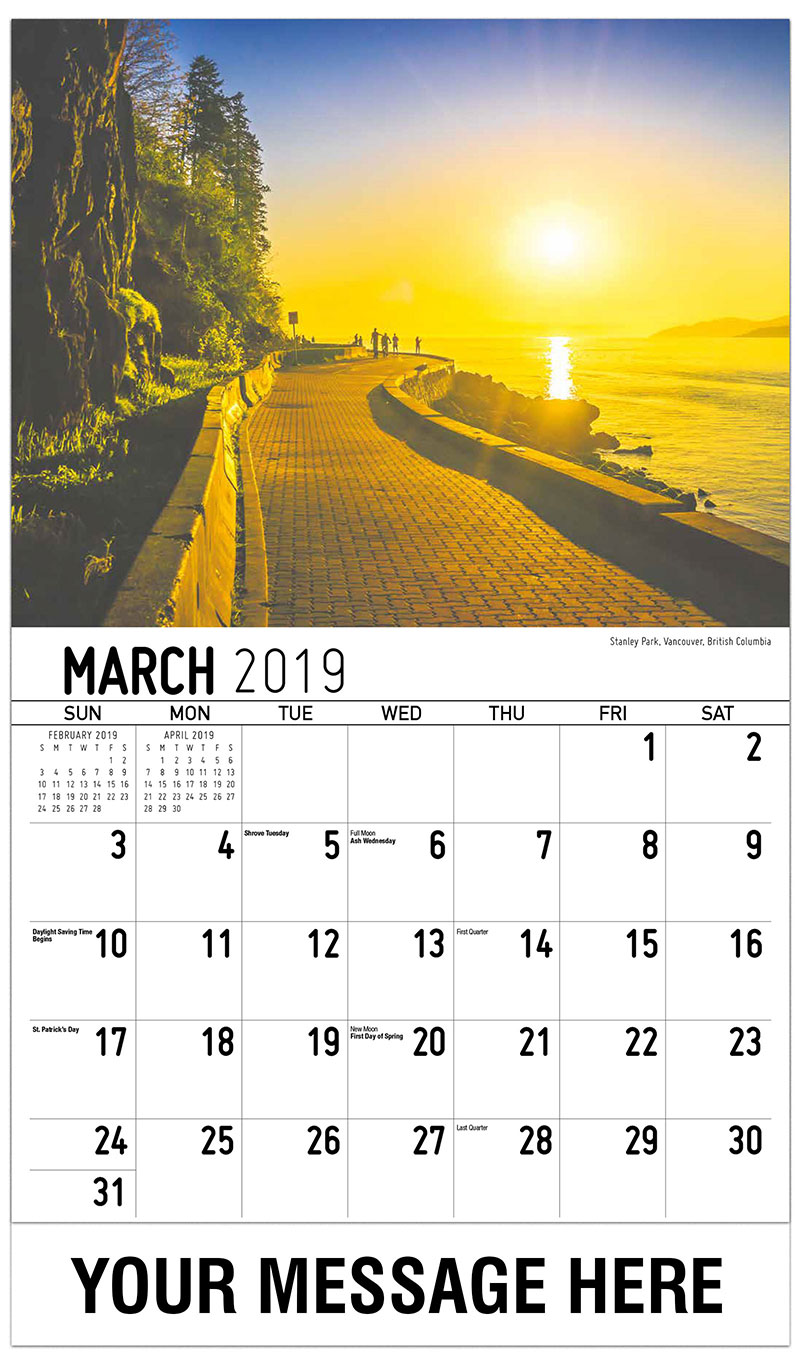 2019 Promotional Calendar - Stanley Park, Vancouver, British Columbia - March