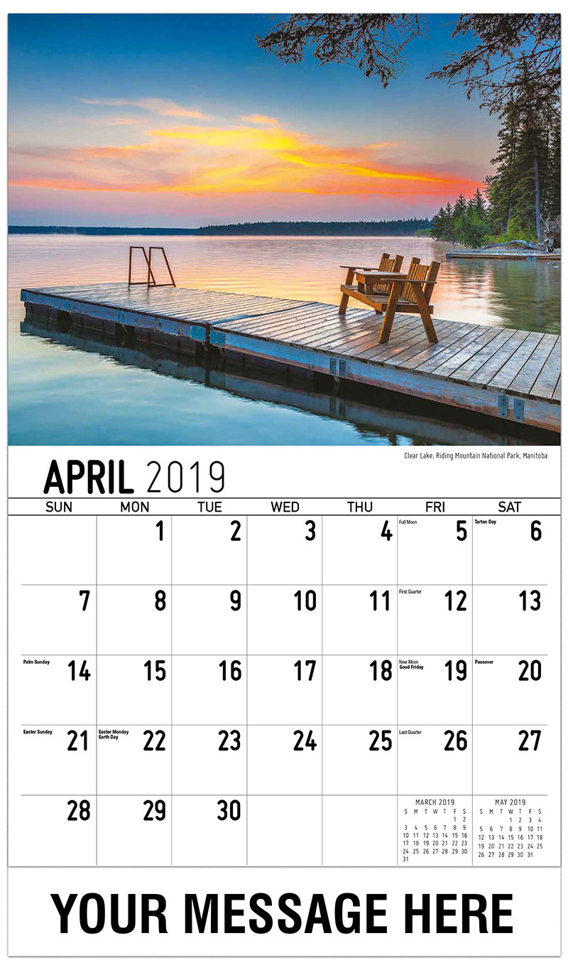 2019 Promotional Calendar - Clear Lake, Riding Mountain National Park, Manitoba - April