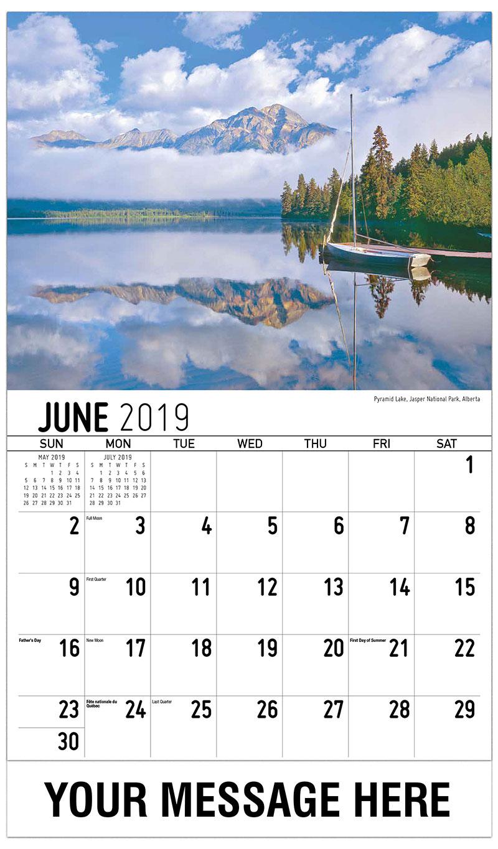 2019 Promotional Calendar - Pyramid Lake, Jasper National Park, Alberta - June