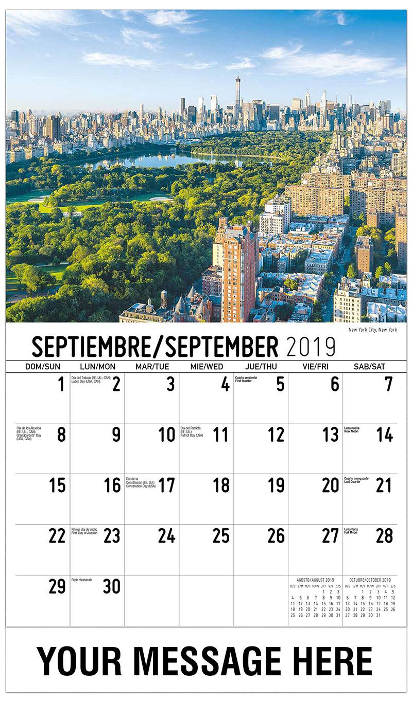 2019  Spanish-English Advertising Calendar - New York City, New York - September