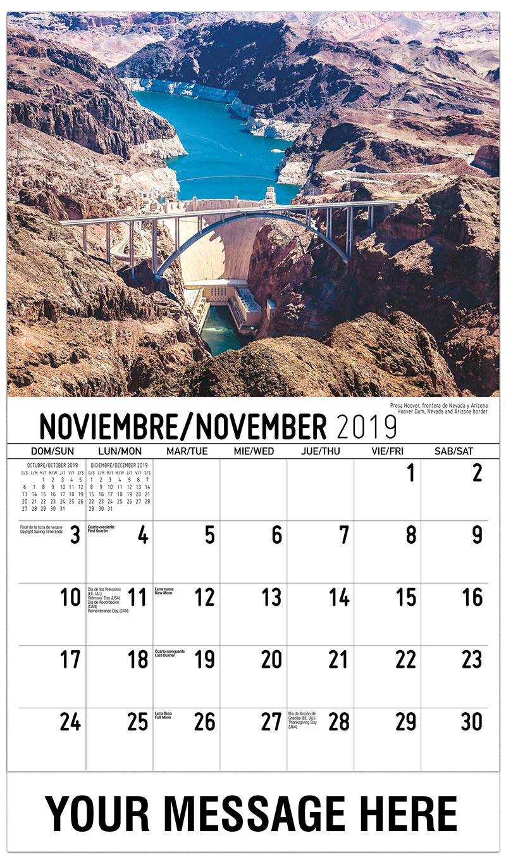 2019  Spanish-English Advertising Calendar - Hoover Dam, Nevada And Arizona Border / Presa Hoover, Frontera De Nevada Y Arizona - November