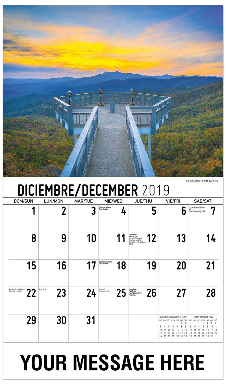 2019  Spanish-English Advertising Calendar - Blowing Rock, North Carolina - December_2019