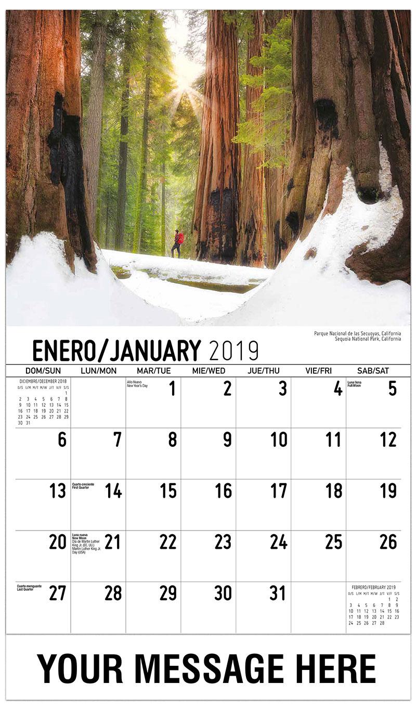 2019  Spanish-English Promo Calendar - Sequoia National Park, California / Parque Nacional De Las Secuoyas, California - January