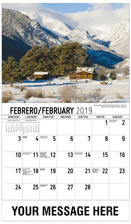 2019  Spanish-English Promo Calendar - Rocky Mountain National Park, Colorado / Parque Nacional De Las Montañas Rocosas, Colorado - February