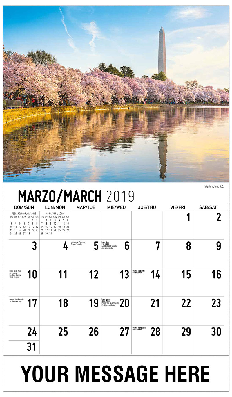 2019  Spanish-English Promotional Calendar - Washington, D.C. - March