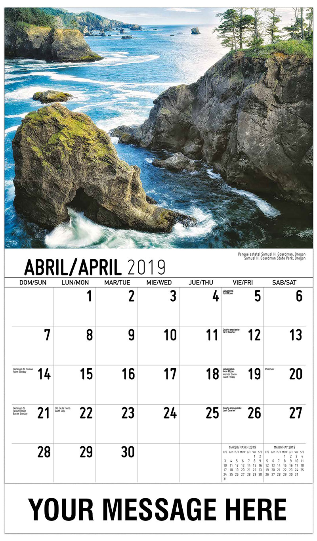 2019  Spanish-English Promotional Calendar - Samuel H. Boardman State Park, Oregon / Parque Estatal Samuel H. Boardman, Oregon - April