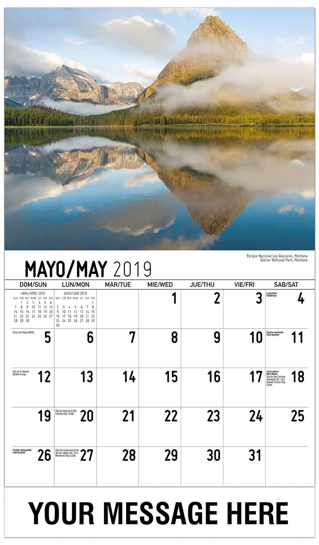 2019  Spanish-English Promotional Calendar - Glacier National Park, Montana / Parque Nacional Los Glaciares, Montana - May