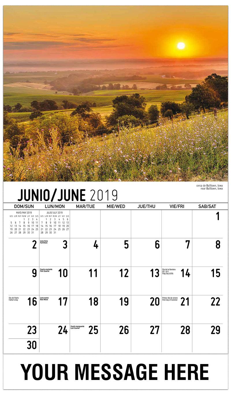 2019  Spanish-English Promotional Calendar - Near Balltown, Iowa / Cerca De Balltown, Iowa - June