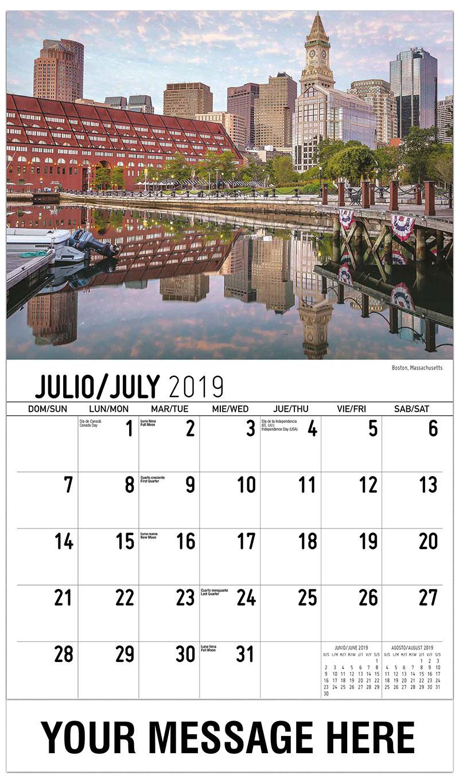 2019  Spanish-English Promotional Calendar - Boston, Massachusetts - July