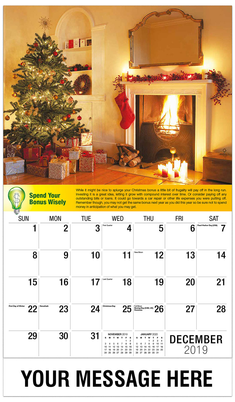 2019 Advertising Calendar - Christmas Tree with Gifts Near Fireplace - December_2019