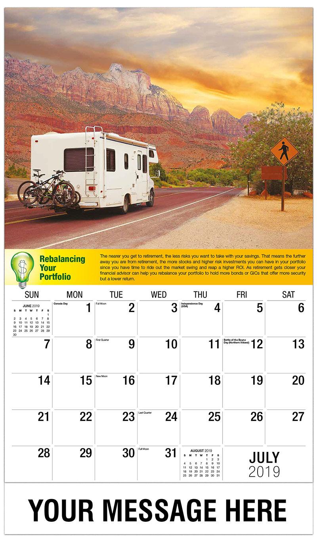 2019 Business Advertising Calendar - Road Trip - July