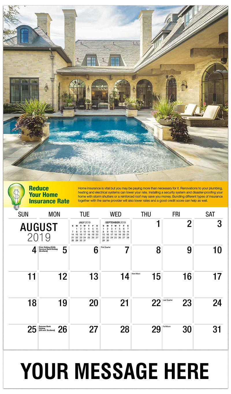 2019 Business Advertising Calendar - Backyard Pool - August