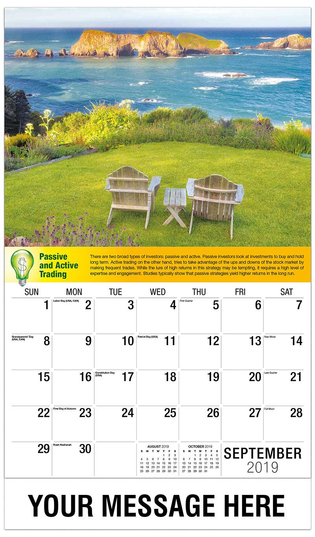 2019 Business Advertising Calendar - Two Chairs on Grass Overlook - September