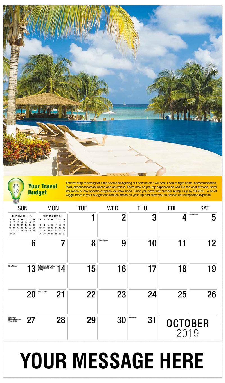 2019 Business Advertising Calendar - Poolside Resort - October