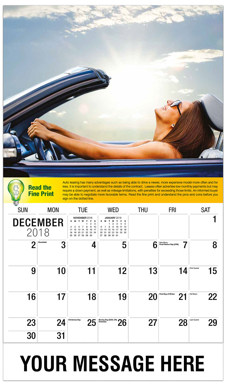 2019 Promo Calendar - Woman Driving Car - December_2018