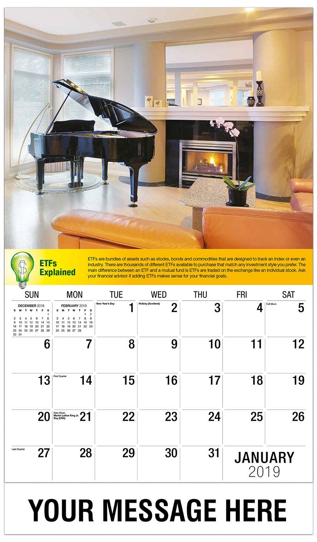 2019 Promo Calendar - Piano Beside Fireplace - January