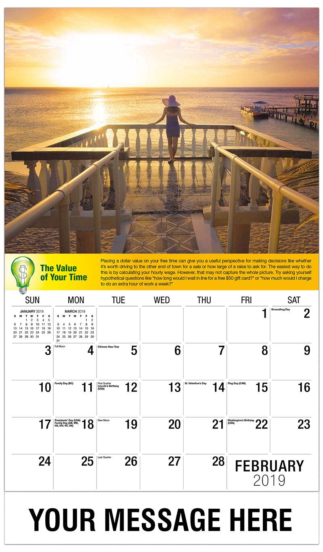 2019 Promo Calendar - Woman Overlooking Ocean - February