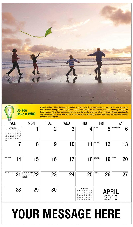 2019 Promotional Calendar - Family At The Beach - April