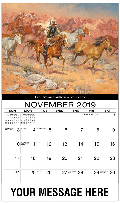 2019 Advertising Calendar - Fine Horses And Bad Men By Jack Sorrenson - November