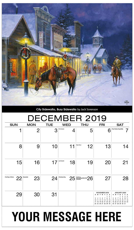 2019 Advertising Calendar - City Sidewalks, Busy Sidewalks By Jack Sorrenson - December_2019